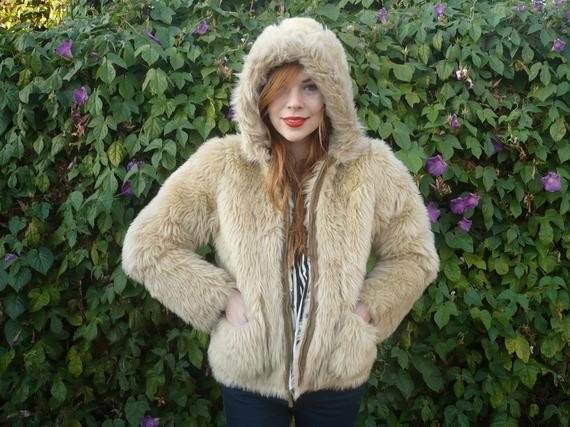 Vintage Faux-Fur Shearling Reversable Coat - Small/Medium